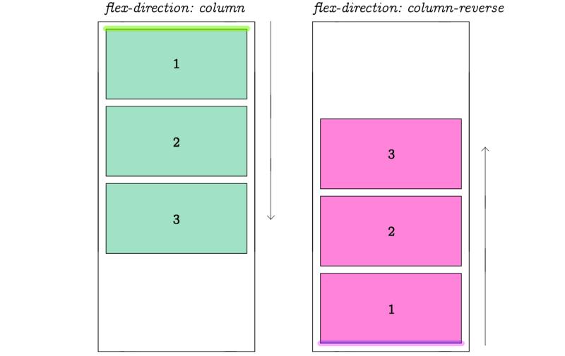 flex direction column flex direction column reverse css code example